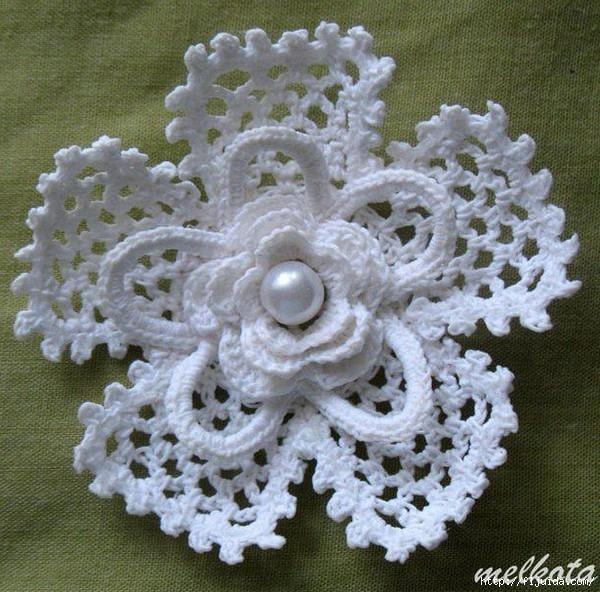 Crochet Simple Flower Diagram : ergahandmade: Crochet Flower + Diagram