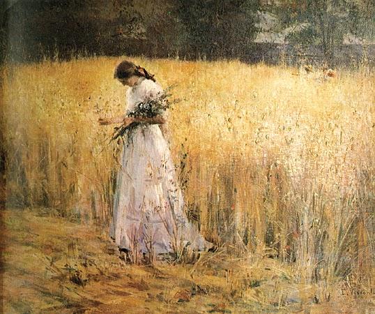 pintura de mulher no trigal