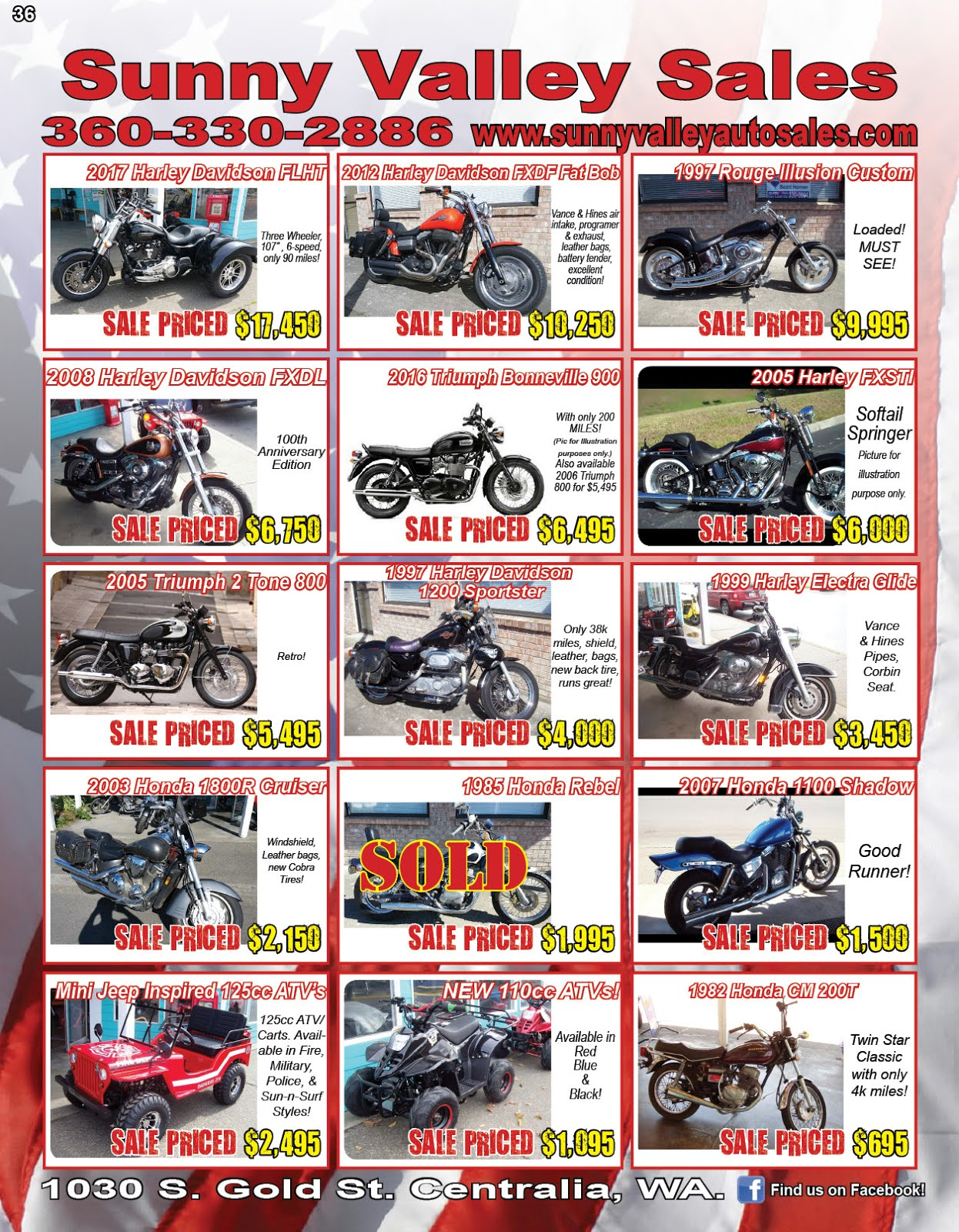Sunny Valley Sales Used Motorcycles, New ATV's Mini Jeep ATV/Carts