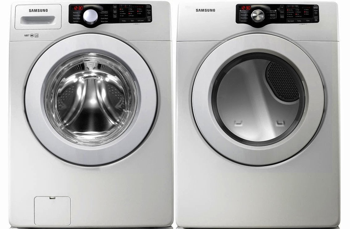 samsung white 36 cf front load washer and 73 cf electric dryer