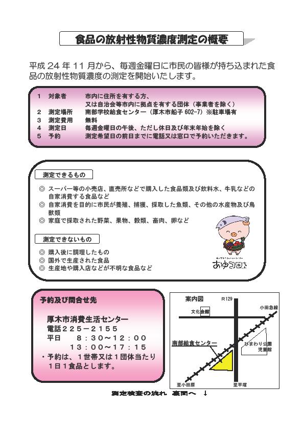 食品の放射性物質濃度測定の概要(厚木市)