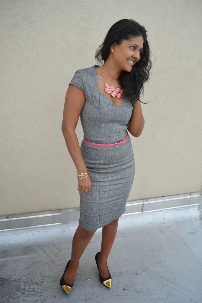 asos grey sheath dress pink necklace