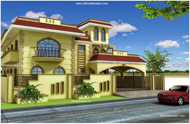 3d front pakistan 1 kanal 10 marla plan for Pakistani new home designs exterior views