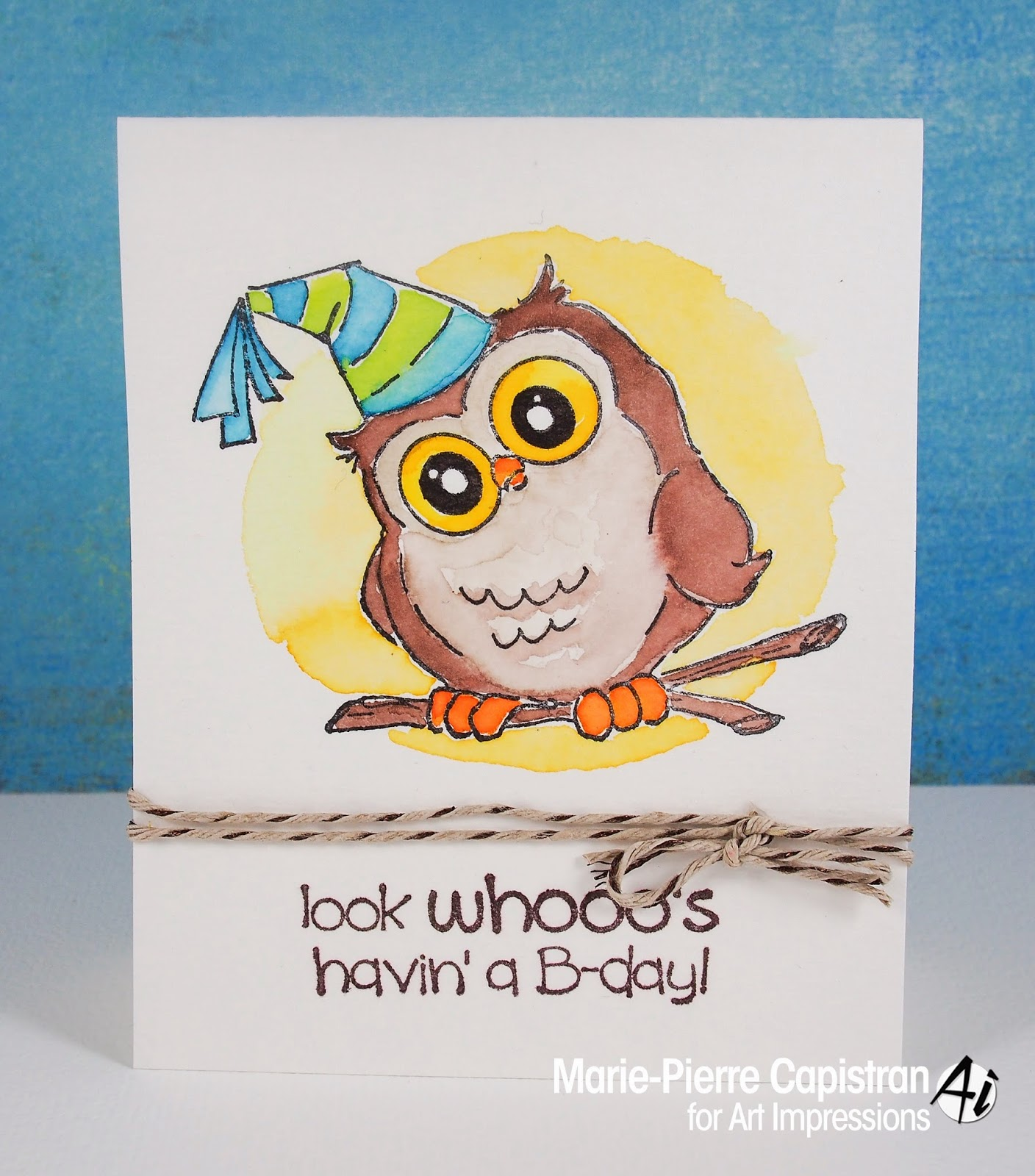 mariepierre cute owl birthday card, Birthday card