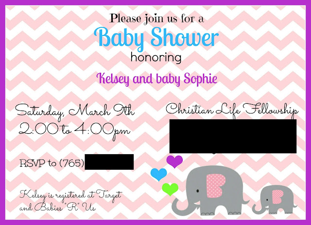 Sugarplum Cuties: Elephant Baby Shower Invite