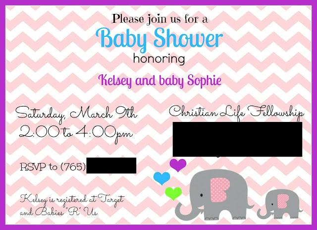 Sugarplum Cuties: Elephant Baby Shower Invite