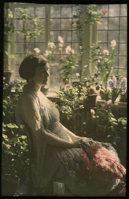Mrs. Benjamin F. Russell. Woman in greenhouse. ca. 1910. #autochrome #vintage