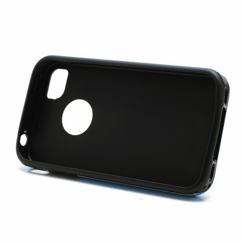 Cool 3D Cube Texture TPU Case for iPhone 4 4S - Blue
