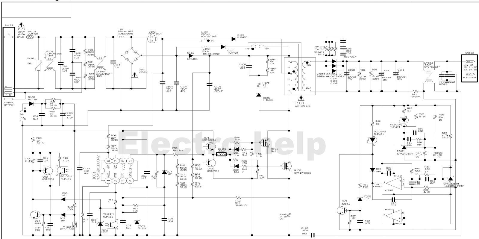Hyundai HQL260WR – Image Quest LCD TV– SMPS Circuit Diagram ...