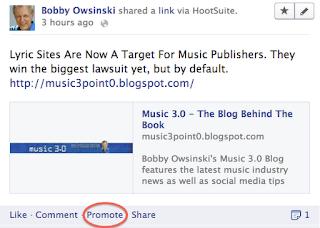Facebook Promote image from Bobby Owsinski's Music 3.0 blog