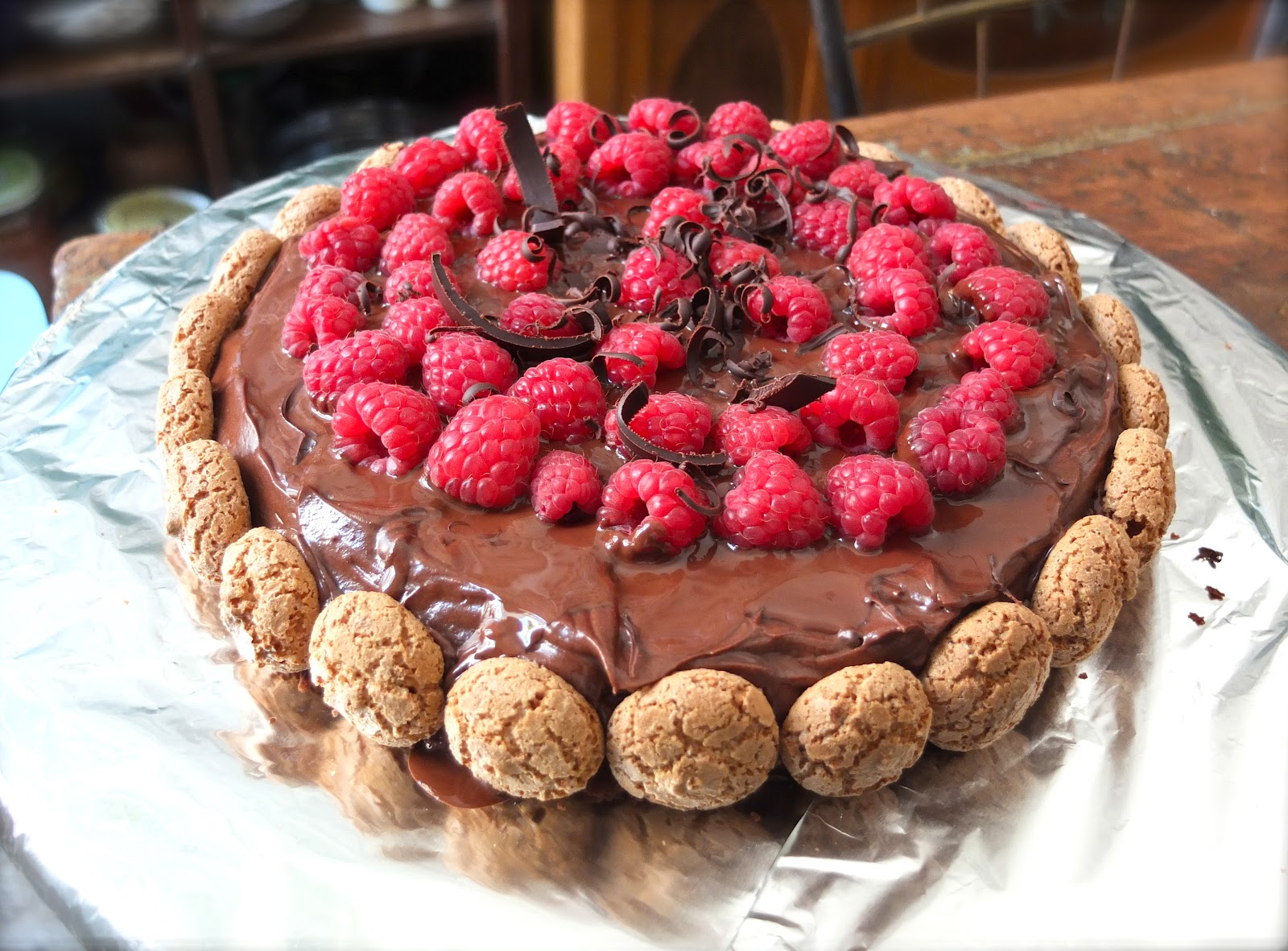Party: Chocolate & Raspberry Cake with Mascarpone Cream and Amaretti ...