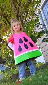 Watermelon slice costume made from Duct Tape