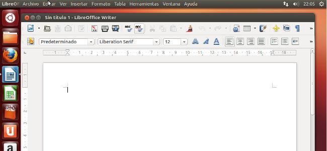 LibreOffice integrada en el menú global