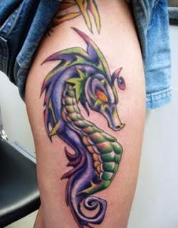 Seahorse Thigh Tattoos