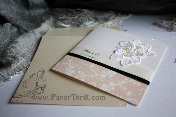 Li 39s embroidered flower wedding card Malaysia wedding invitations