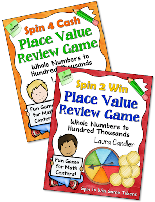 Spin 4 Cash and Spin 2 Win Place Value Review Spinner Games from Laura Candler