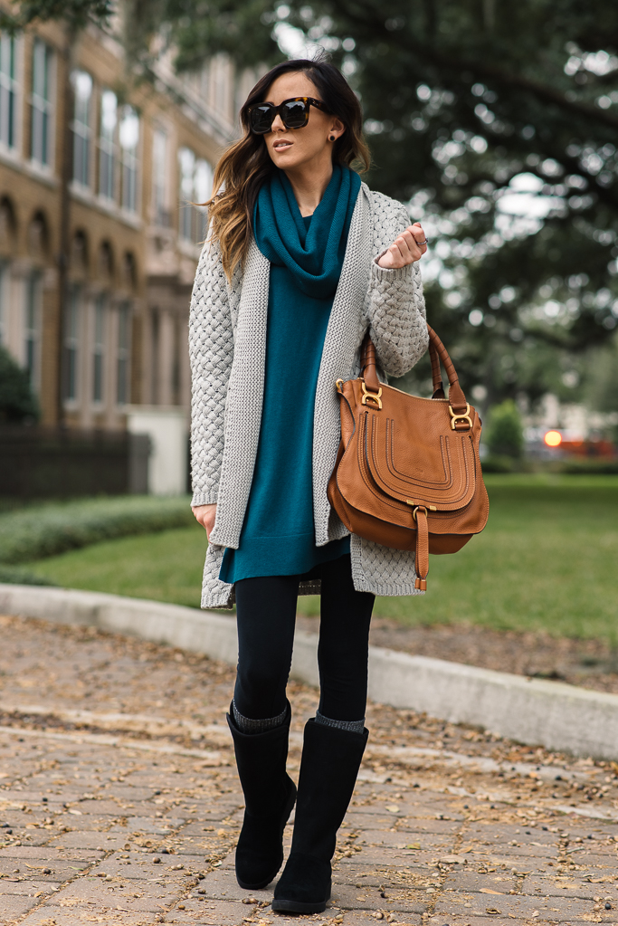CHUNKY KNIT CARDIGAN + THE NEW SLIM UGG BOOT | Alyson Haley