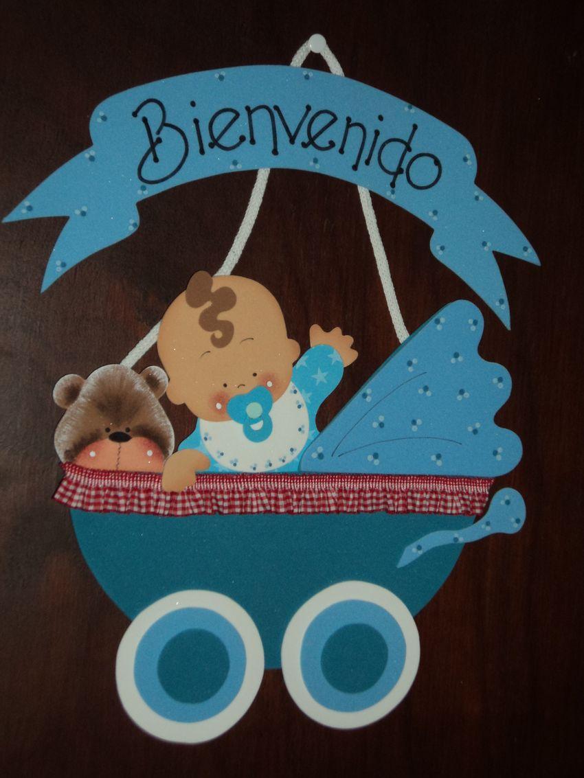 Tutorial de artesan as cartel de bienvenida para beb s for Cartel puerta