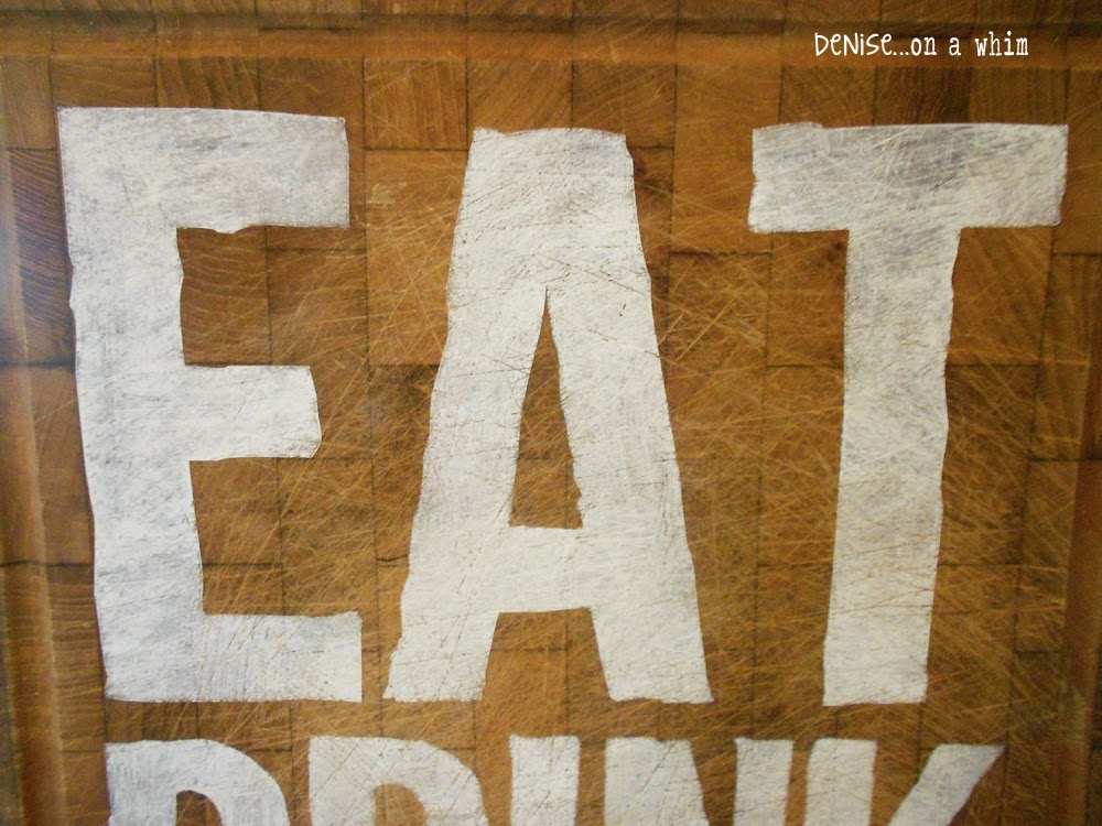 Eat, Drink and Be Merry Cutting Board Sign from Denise on a Whim