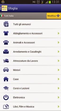 EBAY ANNUNCI APP GRATUITA PER SMARTPHONE E TABLET ANDROID IN ITALIANO