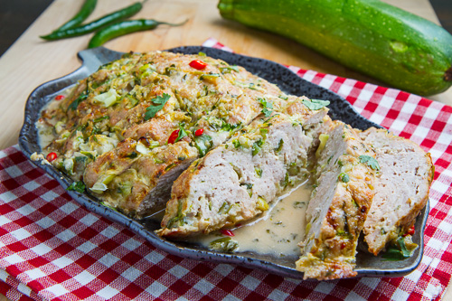 Ina Meatloaf thai green curry turkey and zucchini meatloaf in a coconut milk