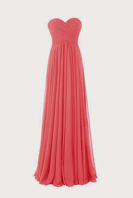 Sweetheart Long Coral Bridesmaid Dress