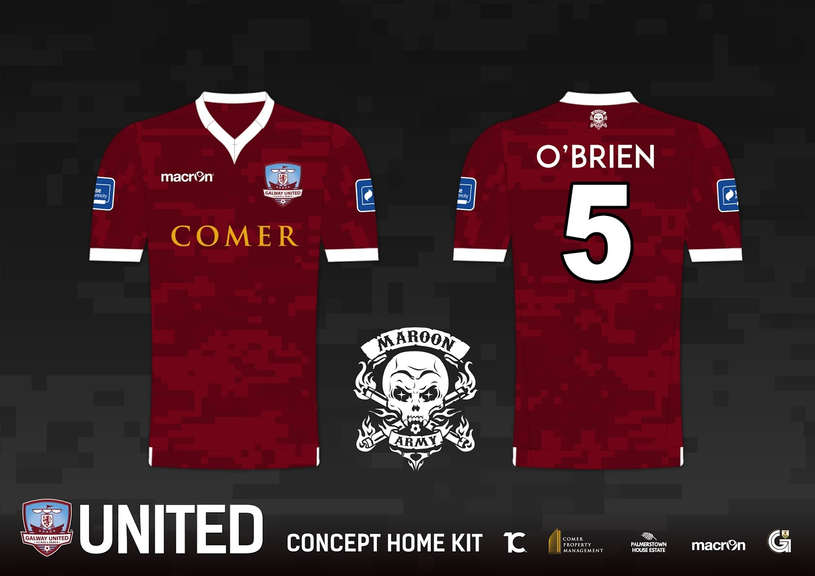 galway united fc maroon army home kit concept