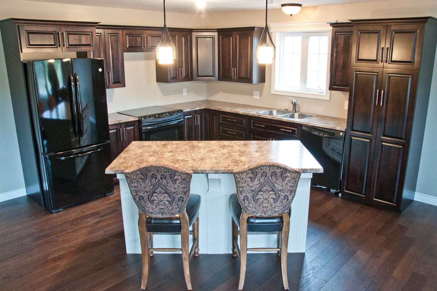 dark kitchen cabinets, light island cabinets)
