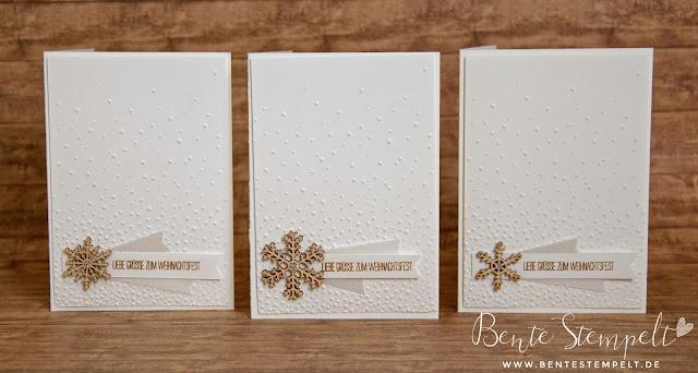 Stampin' Up! Textured Impressions Prägefolder für die Big Shot Weihnachtskarte Holzakzente Schneeflocken