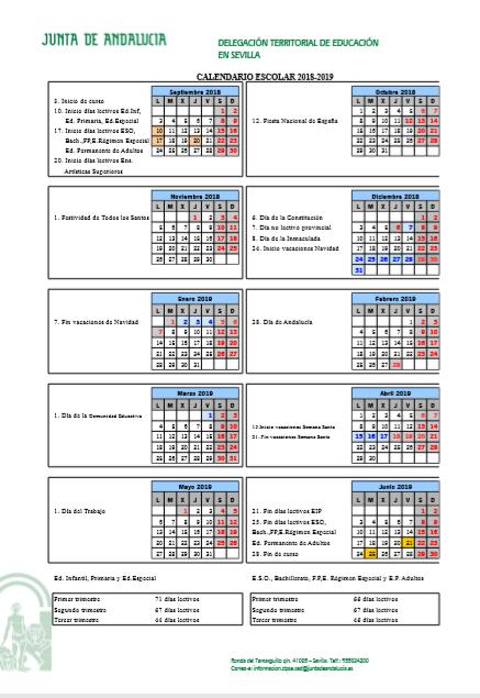 Calendario escolar (2018/19)