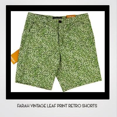 Farah Vintage Leaf Print Retro Shorts
