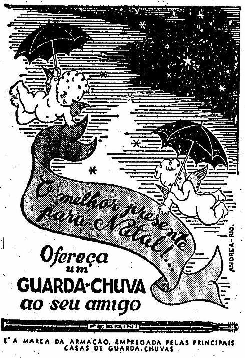 Propaganda dos guarda-chuva Ferrini em 1948. Sugestão como presente de Natal.