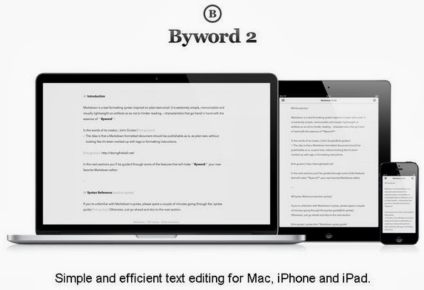 Byword blogging app for iPad