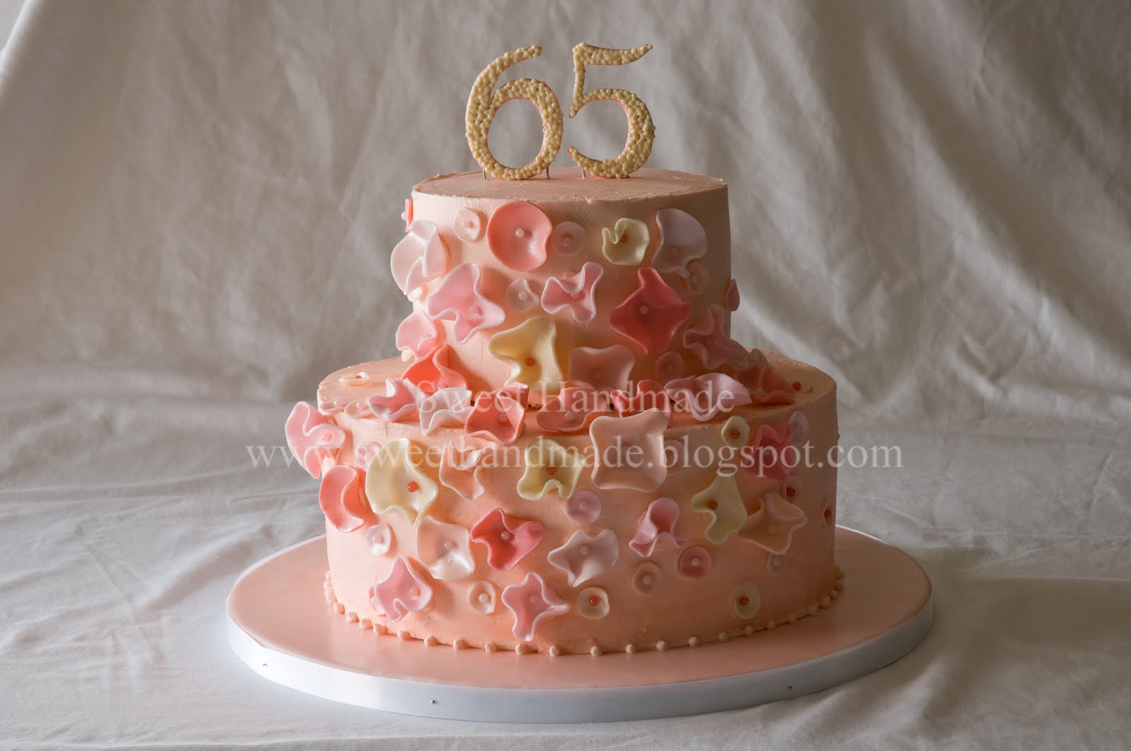 Sweet Handmade Cookies Fantasy Flower 65th Birthday Cake