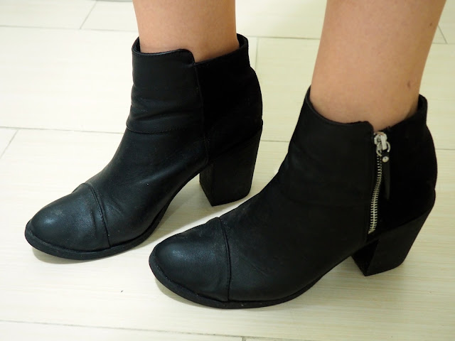 Candy Colours | outfit shoe details of black leather zip-up high heeled ankle boots