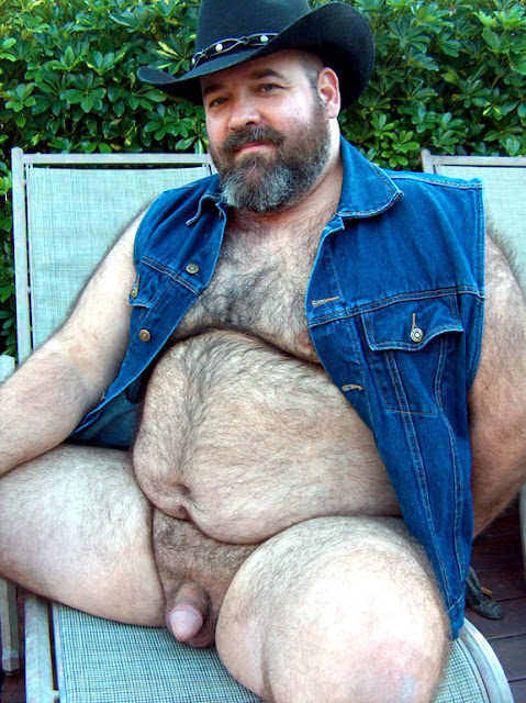 nakedcowbear Hot Chubby Bear Cowboy Spreads His Legs to show his Cock