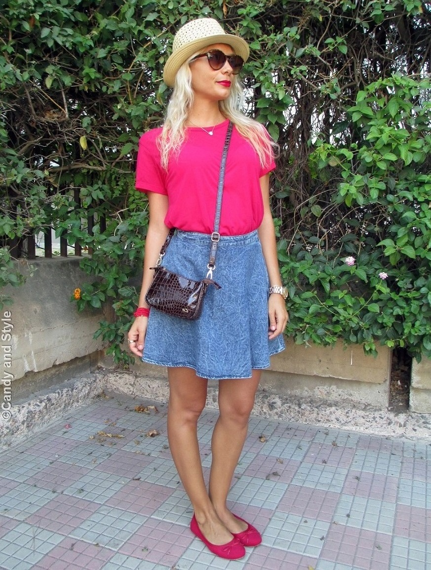 Straw Fedora, Cherry Red Shirt, Denim Skirt, Flats, Mini Bag - Lilli Candy and Style Fashion Blog