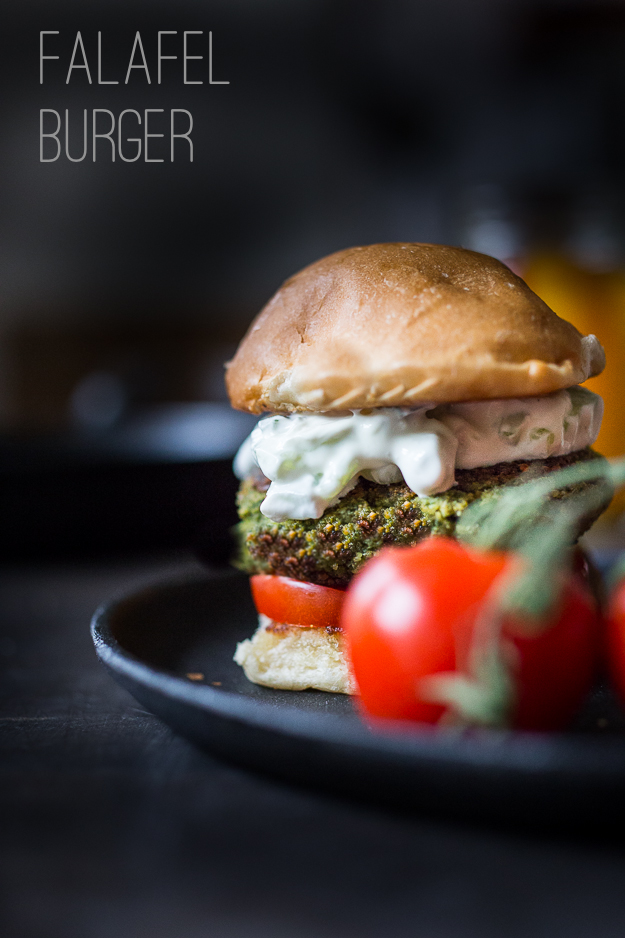 Falafel Burgers with Tzatziki- a vegan gluten free burger that is ...