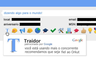 Orkut está dando selo de Traidor para usuarios do  Facebook