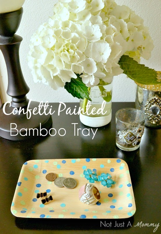 confetti painted bamboo tray for Mother's Day