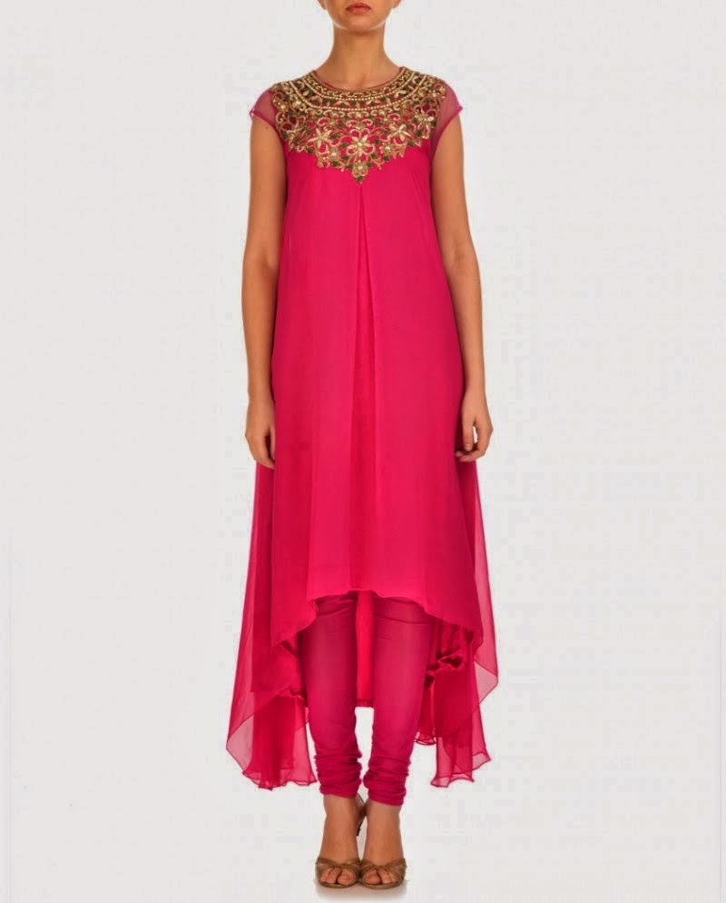 Elegant And Simple Designs Of Frocks With Churidar Shalwar ...