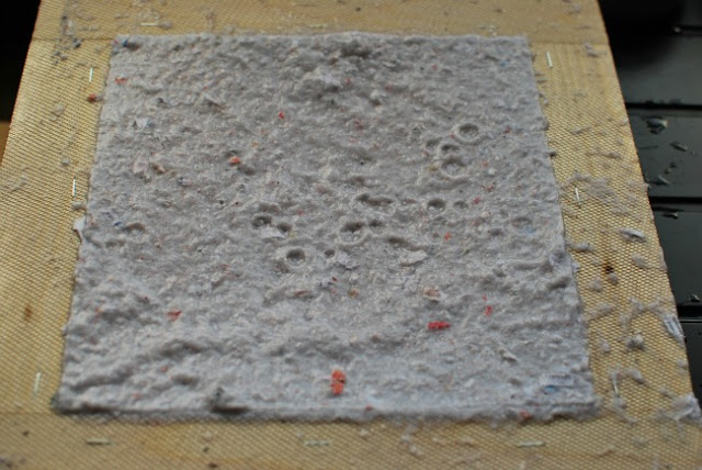 deckle removed pulp in a square