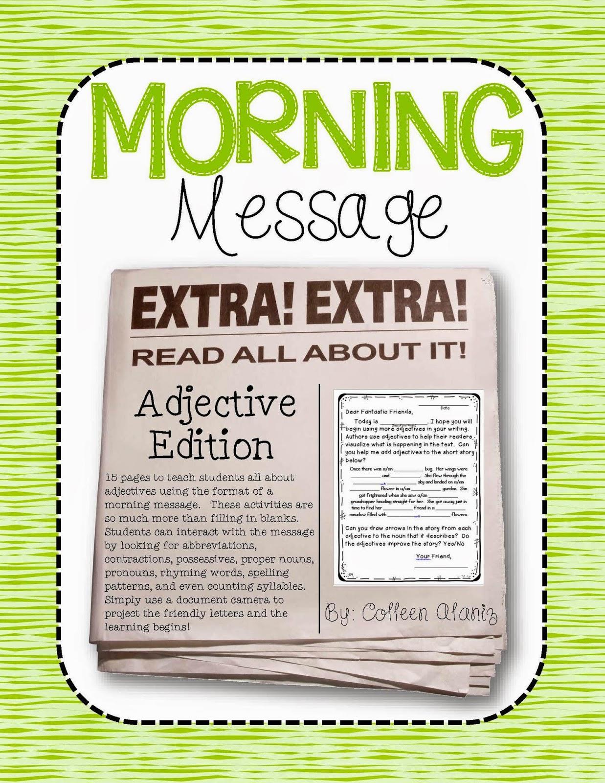 https://www.teacherspayteachers.com/Product/Morning-Message-Adjective-Edition-1708058