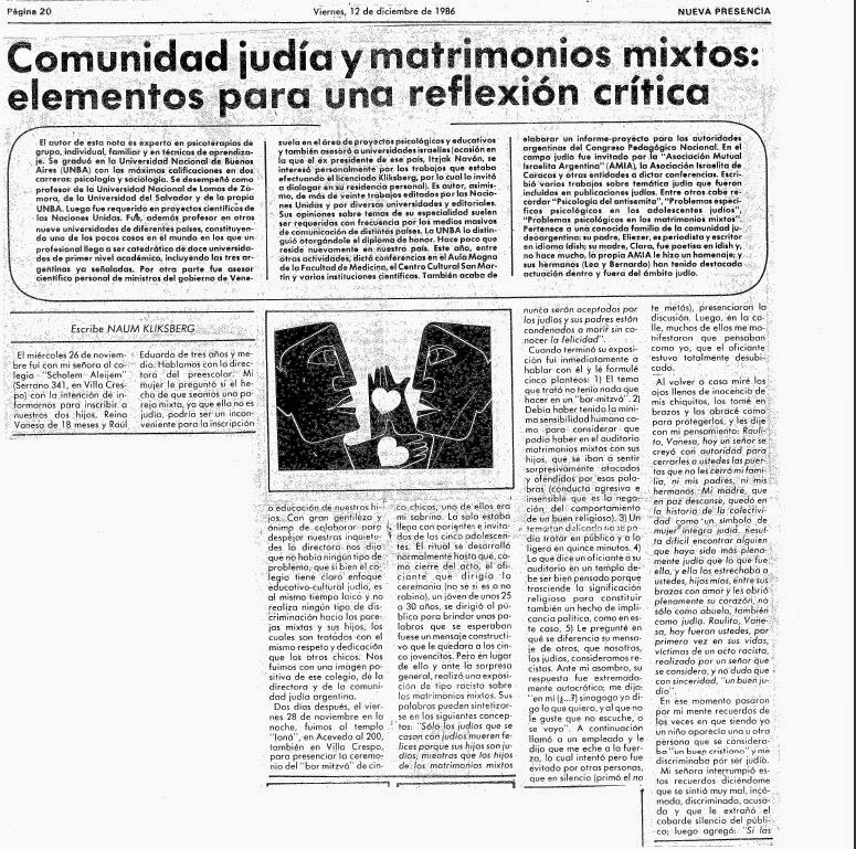 37 - ARTÍCULO DE NAUM KLIKSBERG DENUNCIANDO UNA DISCRIMINACIÓN QUE PADECIO EN UNA SINAGOGA