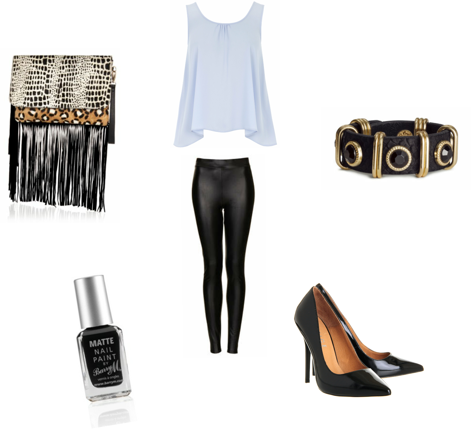 River Island, bag, clutch, Dorothy Perkins, top, Topshop, leggings, H&M, bracelet, shoes, court shoes, black, Office, nails, BarryM