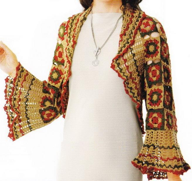 Crochet Granny Square Sweater Pattern : Crochet Sweaters: Crochet Shrug For Women