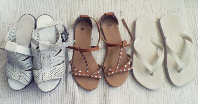 white leather wedges, flat brown sandals from H&M, white flip flops, shoes, footwear