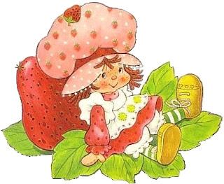 Rosita fresita con una gran fresa