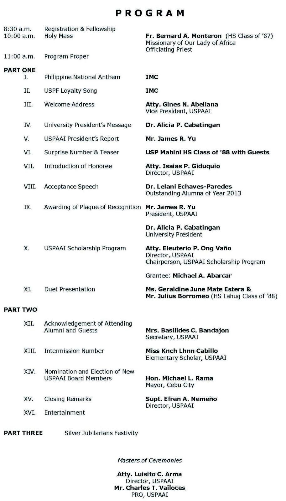 USPian Alumni Newsletter: Grand Alumni Homecoming 2013