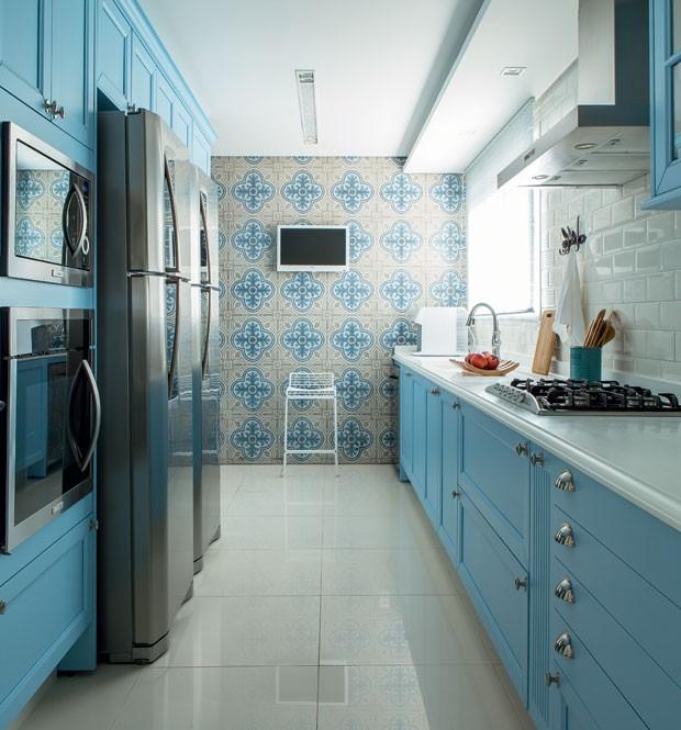 A LINDA COZINHA AZUL  CASA COM MODA # Armario De Cozinha Planejado Azul